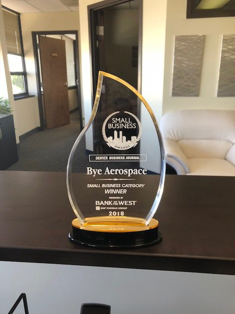 Bye Aerospace wins Denver Business Journal Small Business Award